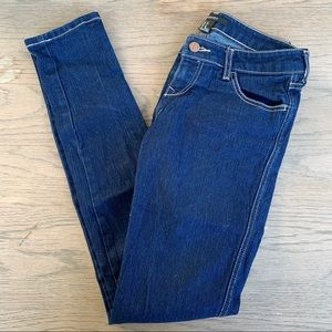 Forever 21 Blue Skinny Jeans w/ White Stitching